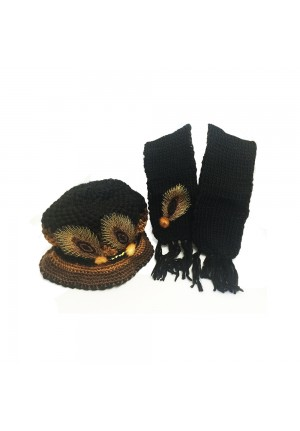 Knitted Hat and Scarf Set with Feather Design