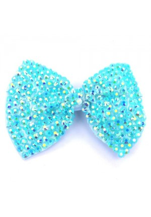 Large Crystal Hair Bow Clip in Turquoise