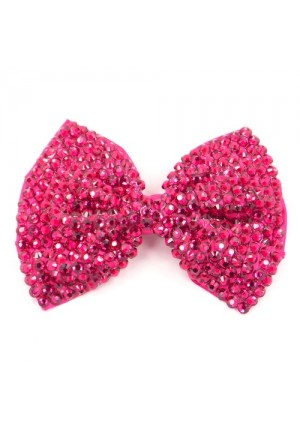 Large Crystal Hair Bow Clip in Dark Pink
